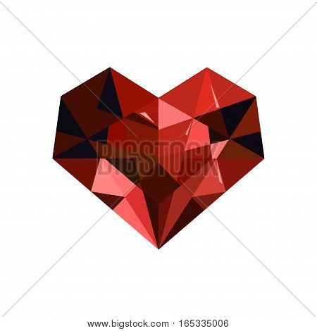 Vector red ruby diamond heart icon on white background. Isolated color heart icon for polygraphy web design logo app UI.