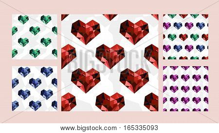Vector set of seamless patterns with diamond hearts: ruby sapphire emerald. Romance valentines wedding theme. Colored pattern for textile paper book game cards banner web design.