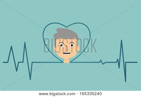 healthcare concept. cardiogramm and heart. Vector illustration