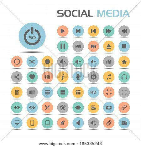 Socialmedia icons on colored buttons and white background