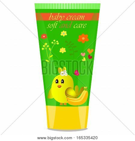 High quality original trendy vector Baby cream tube with kids design and bird, banana illustration