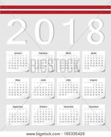 Latvian 2018 Calendar