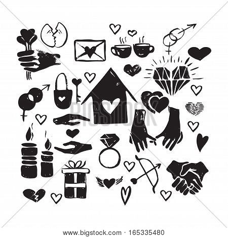 Vector hand drawn valentine icons set. Love couple home relationship holiday theme. Black and white isolated icons for polygraphy web design logo app UI.