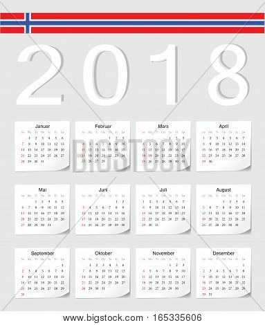 Norwegian 2018 Calendar