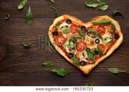 Tasty Homemade Pizza In Heart Shape With Mushrooms And Chicken On Wooden Vintage Table.