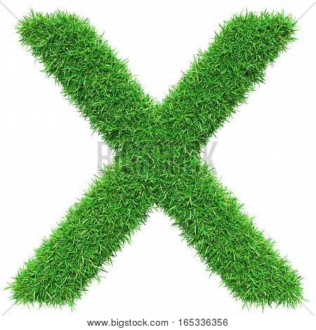 Green Grass Letter X. Isolated On White Background. Font For Your Design. 3D Illustration