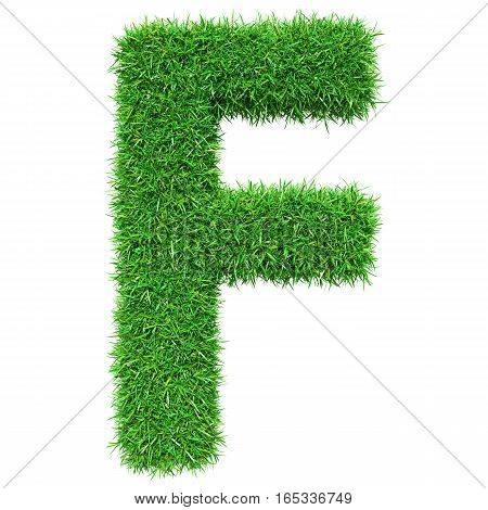 Green Grass Letter F. Isolated On White Background. Font For Your Design. 3D Illustration