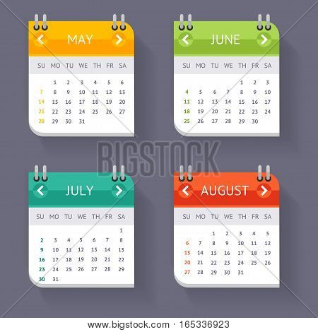 Calendar Quarter Month Current Year Set Template Office Accessory for Your Business Web Design Element. Vector illustration