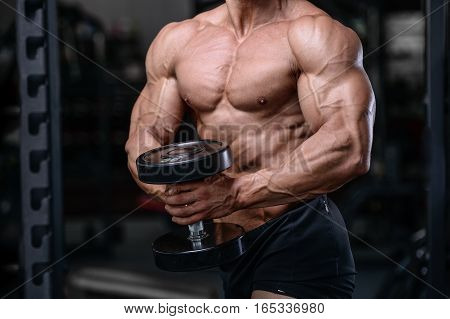 Handsome Bodybuilder Training In The Gym Sexy Man Lift Dumbbells.