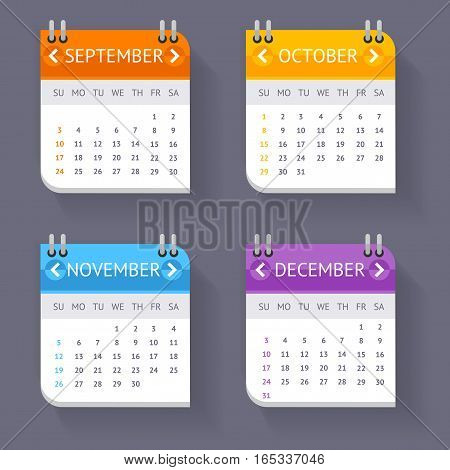 Calendar Quarter Month Current Year Set Stationery or Reminder Modern Web Design Element. Vector illustration