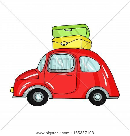 Red car with a luggage on the roof icon in cartoon design isolated on white background. Family holiday symbol stock vector illustration.