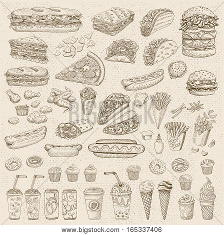 Big vector set, fast food. Old paper, vintage. Fast food. Hamburger, taco, burrito, chicken, potato, fries, sandwich, coffee, ice cream, hot dog, ketchup, mustard, soda, beer. Hand drawn, blackboard.