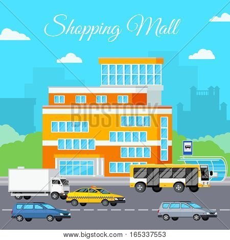 Shopping mall composition with orthogonal storefront sky clouds cityscape silhouettes and various cars on street trafficway vector illustration