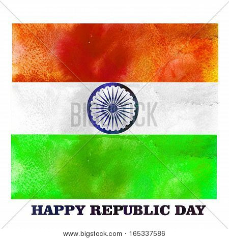 Watercolor National flag color stripes with Ashoka Wheel. Happy Indian Republic Day.