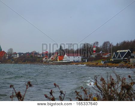 Danish Flags Flying In Winter Wind