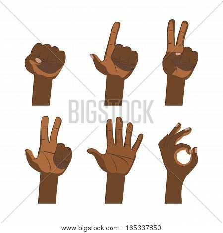 African hand and finger sign. Dark skin hands vector flat icons set: finger counting, victory, ok, devil horn, fist, greeting, pointing, tablet touch gesture isolated on white background