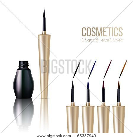 Eyeliner realistic items set with cosmetics symbols isolated vector illustration
