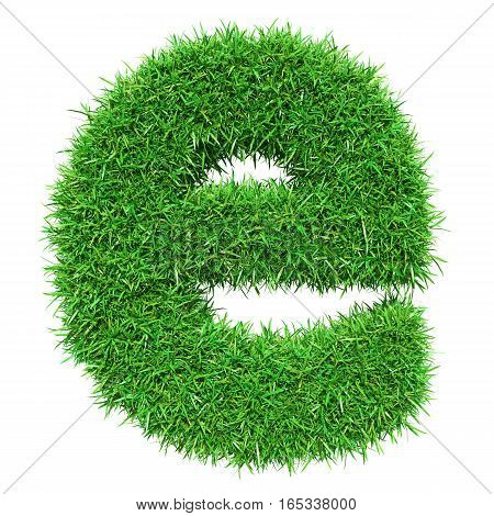 Green Grass Letter E. Isolated On White Background. Font For Your Design. 3D Illustration