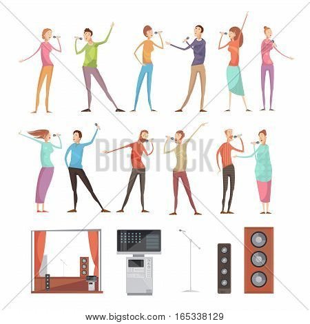 Karaoke party isolated icon set with full length singing people characters acoustics microphones tv and furniture vector illustration