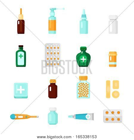 Medications icon set with different types of drugs and medical products in form of droplets blisters and tablets vector illustration
