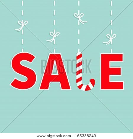 Hanging red text Dash line with bow. Sale Candy cane banner advertising poster. Winter Merry Christmas season offer. Flat design. Blue background. Isolated. Vector illustration