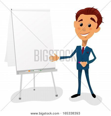 Cartoon vector illustration young businessman pointing to the lateral with text space flip chart board