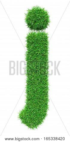 Green Grass Letter J. Isolated On White Background. Font For Your Design. 3D Illustration