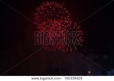 Fireworks Celebration at night on Background.