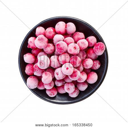berries frozen cherry round black saucer isolated on white background