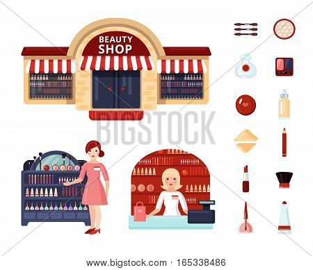 Colored beauty store icon set with girl consultant at the stand and at the checkout vector illustration