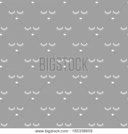Sleepy face gray seamless infant vector pattern. Gray and white background. Minimalist cute child style textile fabric cartoon scandinavian ornament.