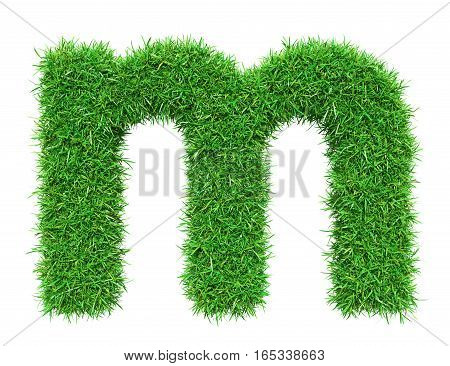 Green Grass Letter M. Isolated On White Background. Font For Your Design. 3D Illustration