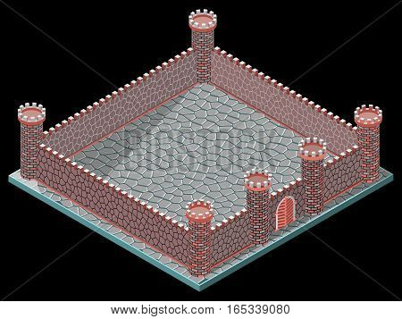 Walls, towers and gateway. isometric view. Vector illustration.