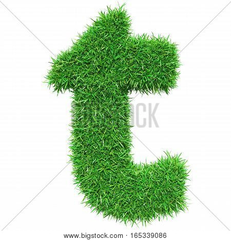 Green Grass Letter T. Isolated On White Background. Font For Your Design. 3D Illustration