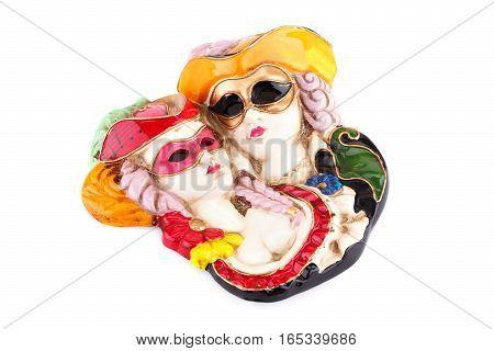 Carnival masks decoration isolated on white background.