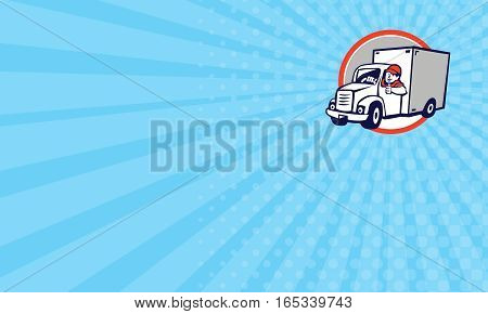 Business card showing Illustration of a delivery van driver driving doing a thumbs up set inside circle done in cartoon style.