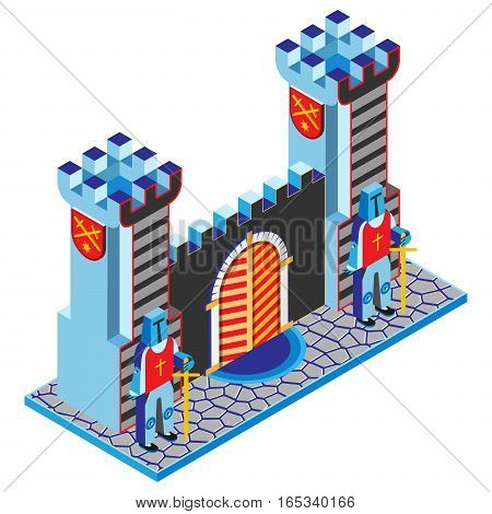 Castle gate, tower and guardians. Isometric view. Vector illustration.