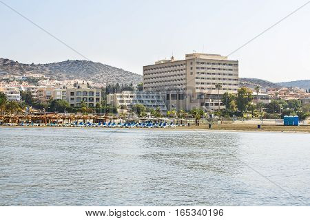 Tropical beach in Limassol Cyprus, horizontal picture.
