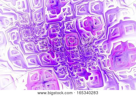 Abstract Pink And Purple Swirly Shapes On White Background. Fantasy Fractal Texture. 3D Rendering.