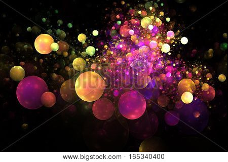 Color Splash. Abstract Glowing Colorful Yellow, Orange, Pink And Purple Bubbles On Black Background.
