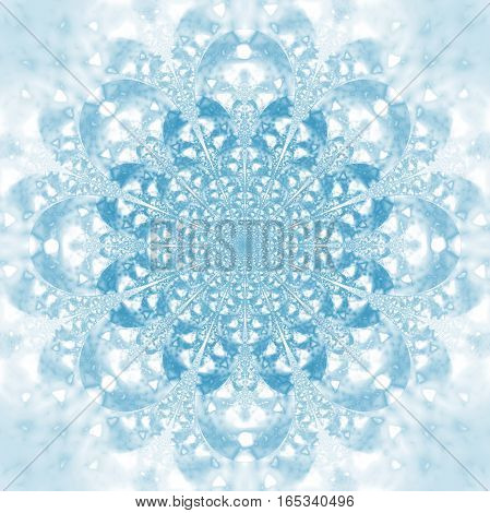 Abstract Exotic Flower. Psychedelic Mandala Design In Light Blue Colors. Fantasy Fractal Art. 3D Ren