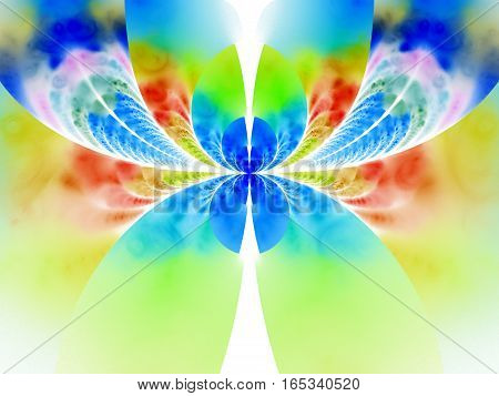 Abstract Exotic Flower On White Background. Fantasy Fractal Design In Red, Green And Blue Colors. Ps