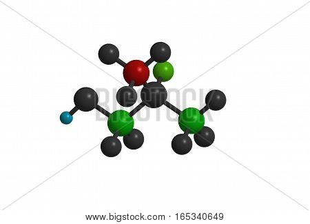 Isolated colored abstract molecular structure 3D rendering
