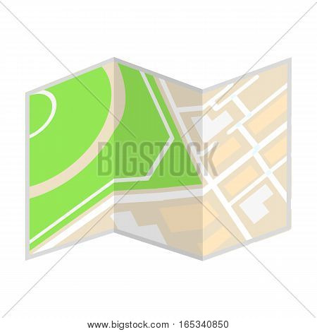 Travel map icon in cartoon design isolated on white background. Rest and travel symbol stock vector illustration.