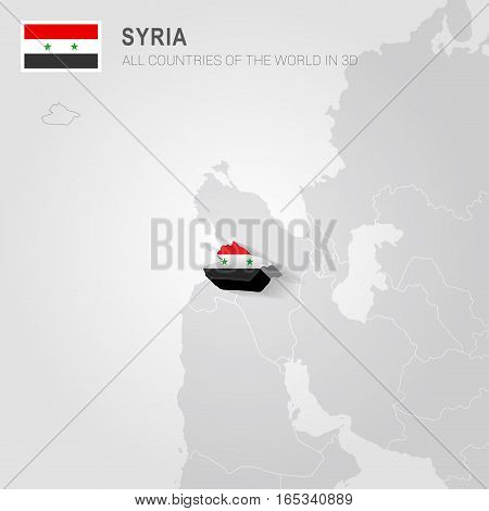 Syria painted with flag drawn on a gray map.