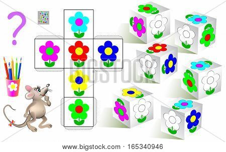 Logic puzzle. Need to paint the white flowers on the dices according to pattern. Vector  cartoon image.