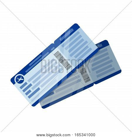 Two airline tickets icon in cartoon design isolated on white background. Rest and travel symbol stock vector illustration.