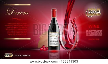 Vector Realistic Wine Glass and Bottle Mock up. Red vine grapes. Natural vibrant detailed background with place for your branding. 3d illustration for future design or Advertise of your product