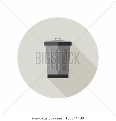 Dumpster flat icon. Garbage bin with long shadow.