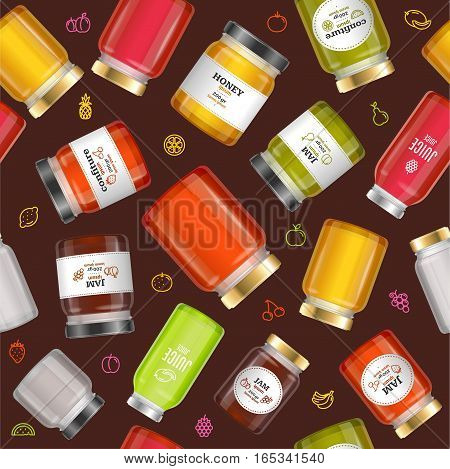 Jar Glass with Jam, Confiture, Honey and Juice Background Pattern on a Brown. Vector illustration